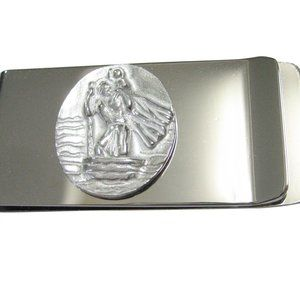 Silver Toned Oval Saint Christopher Money Clip